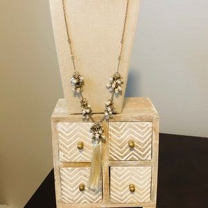 Long pearl and gold tassel necklace